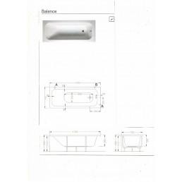Акриловая ванна BALANCE 170Х75 см,ножки с крепежом, сифон,передняя панель. -16200 р