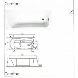Акриловая ванна COMFORT 170Х80 см,ножки с крепежом, сифон,передняя панель-21400 р