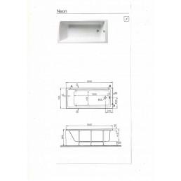 Акриловая ванна NEON 150Х70 см,ножки с крепежом, сифон,передняя панель. -16700 р