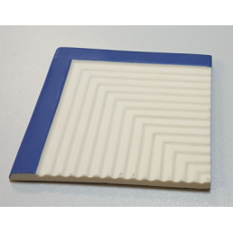 Внешний угловой элемент  рифлёной плитки с очерченным краем Vitra Arkitekt Pool поверхность матовая, ребристая.  синий RAL 5002 матовый Водопоглощение 0.5% размер 12.5х12.5
