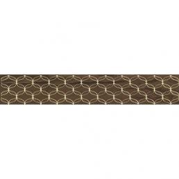 Плитка настенная Ethereal Бордюр Золотой геометр.коричневый Глянец 10х60 (Brown Gold Geometric Border Glossy)