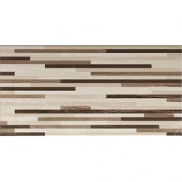 Плитка настенная Ethereal Декор светло-коричневый Линии микс Глянец 30х60 (Brown-Light Beige Lines Mix Decor Glossy)